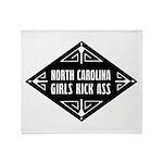 North Carolina Girls Kick Ass Throw Blanket