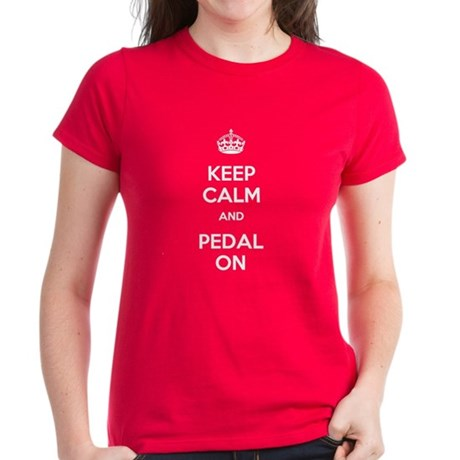 Keep Calm and Pedal On Women's Dark T-Shirt