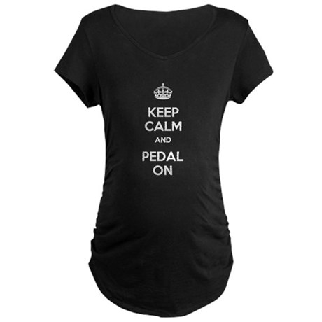 Keep Calm and Pedal On Maternity Dark T-Shirt