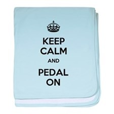 Keep Calm and Pedal On baby blanket