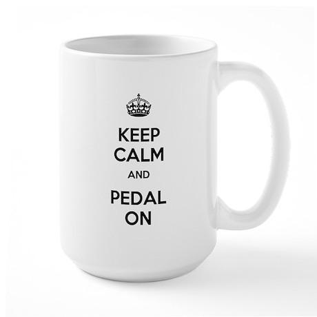 Keep Calm and Pedal On Large Mug