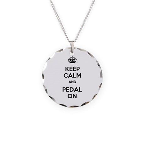 Keep Calm and Pedal On Necklace Circle Charm