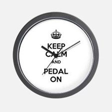 Keep Calm and Pedal On Wall Clock