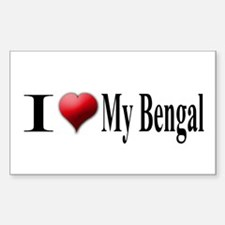 I Love My Bengal Rectangle Decal