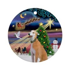 Xmas Magic Greyhound Ornament (Round)