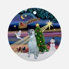 Xmas Magic & Irish Wolfhound Ornament (Round)