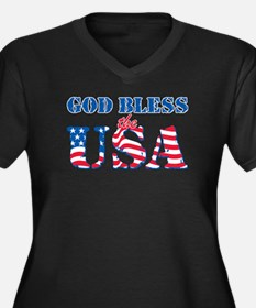 God Bless the USA Women's Plus Size V-Neck Dark T-