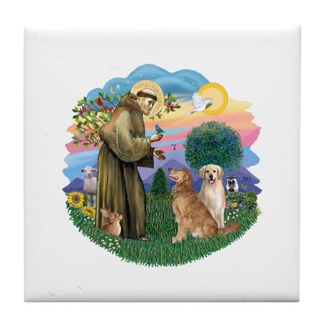 StFrancis(ff)-Two Goldens Tile Coaster