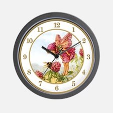 Red Clover Fairy Wall Clock