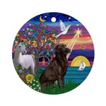 Magical Night Chocolate Lab Ornament (Round)