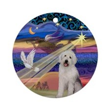 Xmas Star and Old English Pup Ornament (Round)