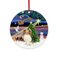 Xmas Magic & Fawn Papillon Ornament (Round)