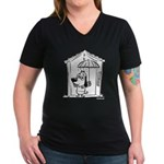 Superstitious Doggy - Umbrell Women's V-Neck Dark