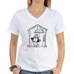 Superstitious Doggy - Umbrell Women's V-Neck T-Shi