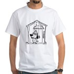 Superstitious Doggy - Umbrell White T-Shirt