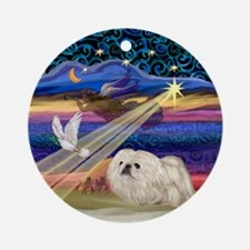 Chrismtas Star & White Pekingese Ornament (Rou