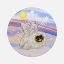 White Peke (black mast) Angel Ornament (Round)