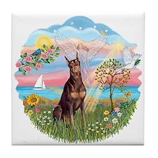 AngelStar-Red Doberman Tile Coaster