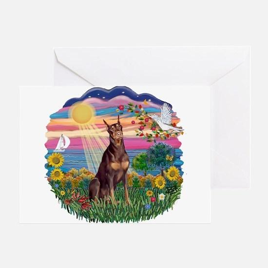 AutumnSun-Red Dobie Greeting Card