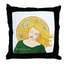 Grania and the Celtic spiral sun Throw Pillow