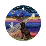 Xmas Star & Chocolate Labrador Ornament (Round)