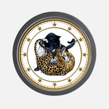 Panther and Leopard Wrestle Wall Clock