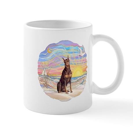 Ocean-Sunrise-Red Dobie Mug