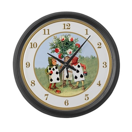 Painting the Queen's Roses Large Wall Clock
