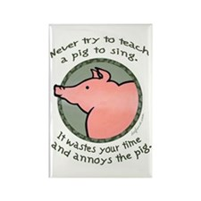 Singing Pig Rectangle Magnet