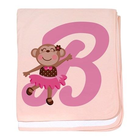 Letter B Monkey Monogrammed baby blanket