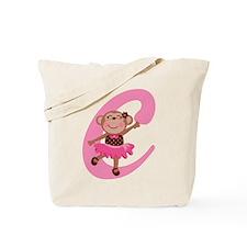 Letter C Monkey Monogrammed Tote Bag