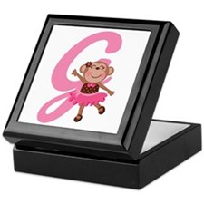 Letter G Monkey Monogrammed Keepsake Box