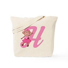 Letter H Monkey Monogrammed Tote Bag