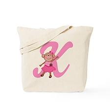 Letter K Monkey Monogrammed Tote Bag