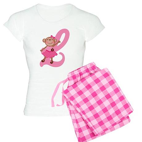 Letter L Monkey Monogrammed Women's Light Pajamas