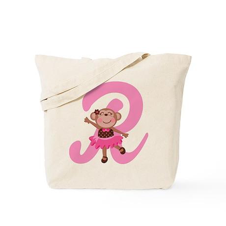 Letter R Monkey Monogrammed Tote Bag