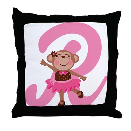 Letter R Monkey Monogrammed Throw Pillow