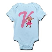 Letter V Monkey Monogrammed Infant Bodysuit