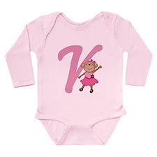 Letter V Monkey Monogrammed Long Sleeve Infant Bod