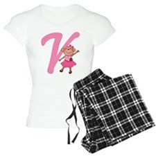 Letter V Monkey Monogrammed Pajamas
