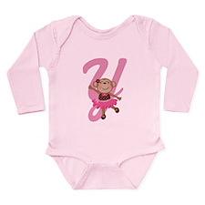Letter Y Monkey Monogrammed Long Sleeve Infant Bod