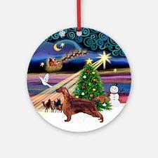 Xmas Magic Irish Setter Ornament (Round)
