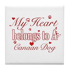 Canaan Dog Designs Tile Coaster