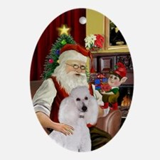 Santa's White Standard Poodle Oval Ornament