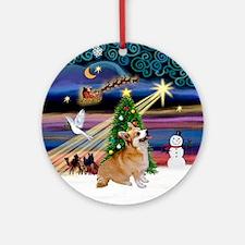 Xmas Magic Pembroke Welsh Corgi Ornament (Round)