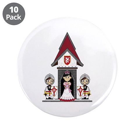 """Princess & Crusader Knights 3.5"""" Button ("""