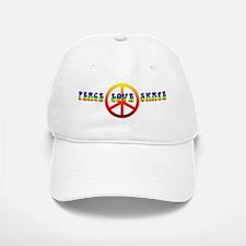 Peace Love Skate Baseball Baseball Cap