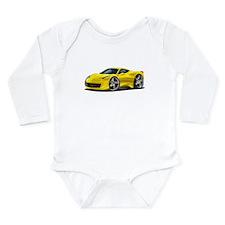 458 Italia Yellow Car Long Sleeve Infant Bodysuit