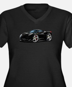 458 Italia Black Car Women's Plus Size V-Neck Dark