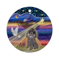 Xmas Star & Silver Poodle Ornament (Round)
